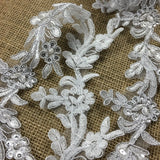 "Bridal Lace Trim Embroidered Hand Beaded Corded Sequined Organza Beautiful Rose Floral, 1.25"" Wide, White, for Garment Children Bridal Veil Costume"