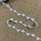 "Bridal Lace Trim Embroidered Hand Beaded Corded Sequined Organza,1"" Wide, White, for Garment Children Veil Costume Communion Christening Baptism Cape"