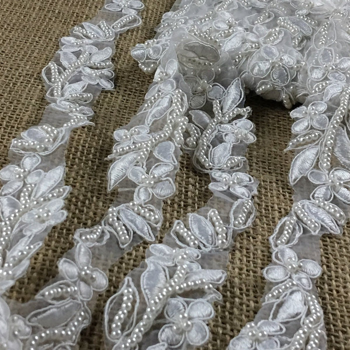 "Bridal Lace Trim Embroidered Hand Beaded Corded Sequined Organza,1.25"" Wide, White, for Garment Children Veil Costume Communion Christening Baptism Cape"