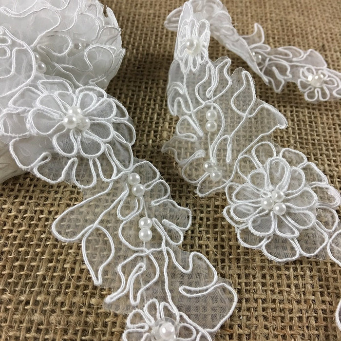 "Bridal Trim Lace Embroidered Hand Beaded Corded Sequined Organza,1.75"" Wide, White, for Garment Children Veil Costume Communion Christening Baptism Cape"