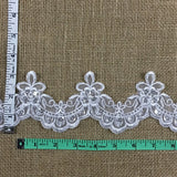"Scalloped Bridal Trim Lace Embroidered Hand Beaded Sequined Organza, 3"" Wide, White, for Garment Children Veil Costume Communion Christening Baptism Cape"
