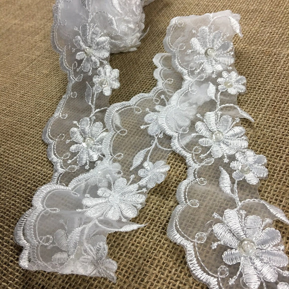 Scalloped Bridal Trim Lace Double Border Embroidered Beaded Sequined Organza, 2.5