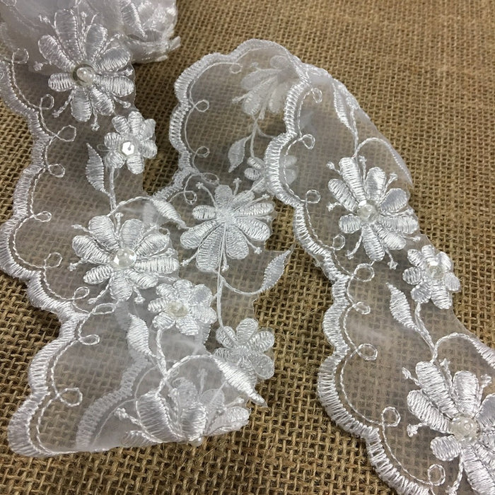 "Scalloped Bridal Trim Lace Double Border Embroidered Beaded Sequined Organza, 2.5"" Wide, White, for Garment Veil Costume Communion Christening Baptism"