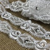 "Scalloped Bridal Trim Lace Double Border Embroidered Beaded silver Sequined Organza, 1"" Wide, White, for Garment Veil Costume Communion Christening Baptism"