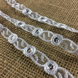 "Bridal Trim Lace Double Border Embroidered & Silver Sequins on Organza, 1/2"" Wide, White, for Garment Veil Costume Communion Christening Baptism"