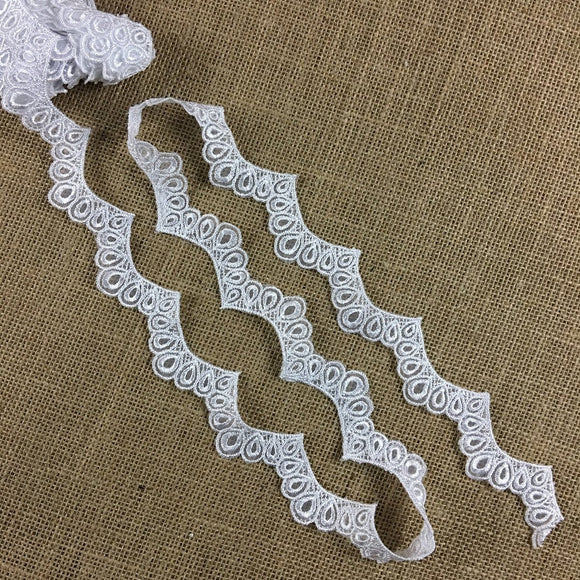Scalloped Bridal Trim Lace Embroidered on Organza, 1.5