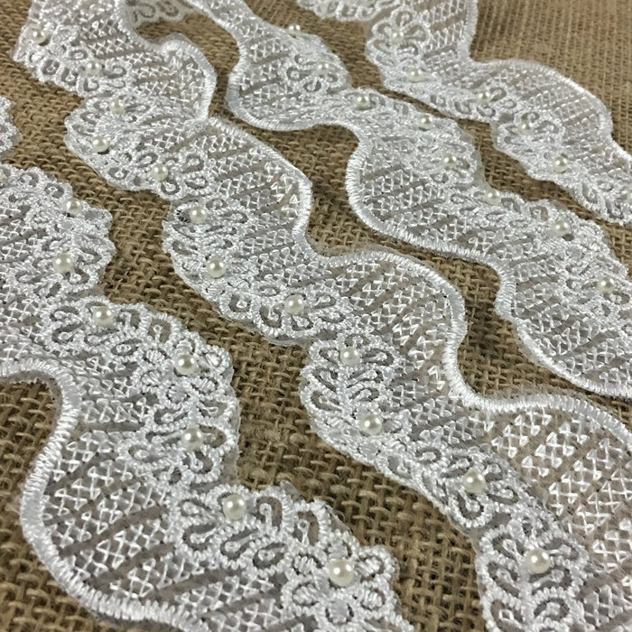 "Floral Wave Bridal Trim Lace Embroidered Beaded Sequined Organza, 2"" Wide, White, for Garment Veil Costume Communion Christening Baptism"