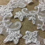 "Bridal Applique Pair Hand Beaded Corded Sequined Embroidered Sheer Organza Collar Lace, 8"" Tall, White, Multi-Use Communion Christening Garments Sash Belt Veils Wedding"