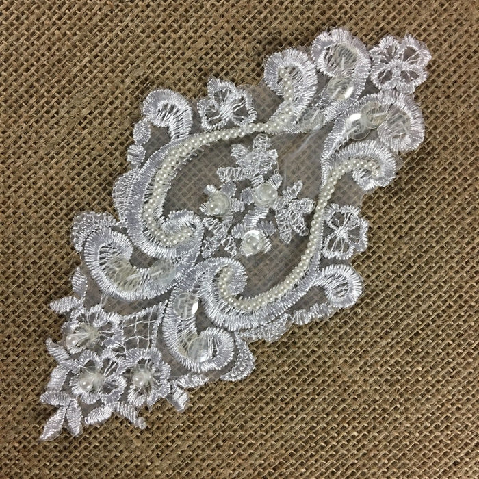 "Beaded Applique Lace Oval Piece, 7""x4"", White, Multi-Use Garments Communion Christening Baptism Dance Theater Costumes Decoration"
