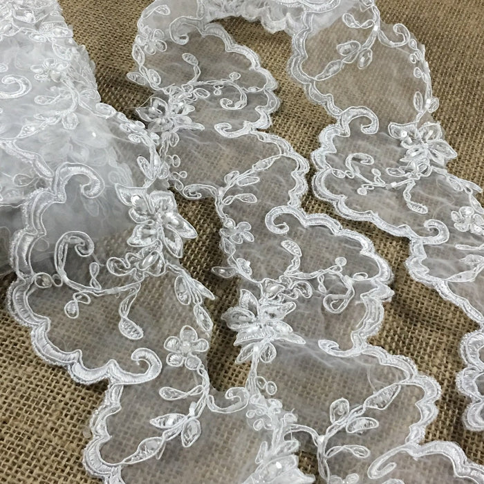 "Bridal Veil Lace Trim Corded Beaded Sequined Organza Ground, 3.75"" Wide, Choose Color for Garment Communion Christening Baptism"