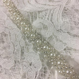 "Beaded Trim Lace, 1/2"" Wide Beautiful Pearl Bead Pattern on 1.25"" Wide Organza Ribbon, Choose Color, Trim By the Yard for Sash Belt Waistband Garments"