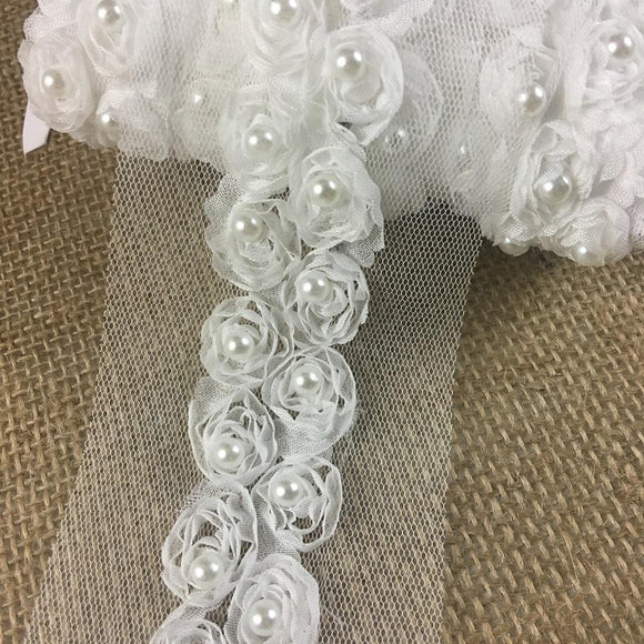 Chiffon Rosettes Sash Trim Lace Gorgeous Fluffy Soft Chiffon Flowers Pear bead in Center, 1