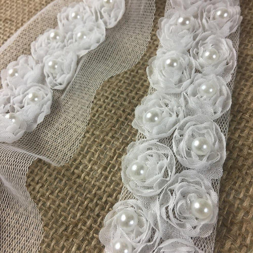 "Chiffon Rosettes Sash Trim Lace Gorgeous Fluffy Soft Chiffon Flowers Pear bead in Center, 1"" Wide on 3"" Wide Mesh, White. By the Yard for Sash Belt Waistband Garments Decorations Crafts"