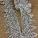 "Metallic Gold/Silver Trim Lace Corded Embroidered, 5"" Wide, Choose Color, for Garment Gown Veil Bridal Costume Decoration Altar Table Runner"