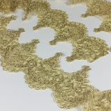 "Metallic Gold Trim Lace Corded, 4.5"" Wide, for Garment Gown Veil Bridal Theater & Dance Costume Decoration Altar Table Runner DIY Sewing ..."