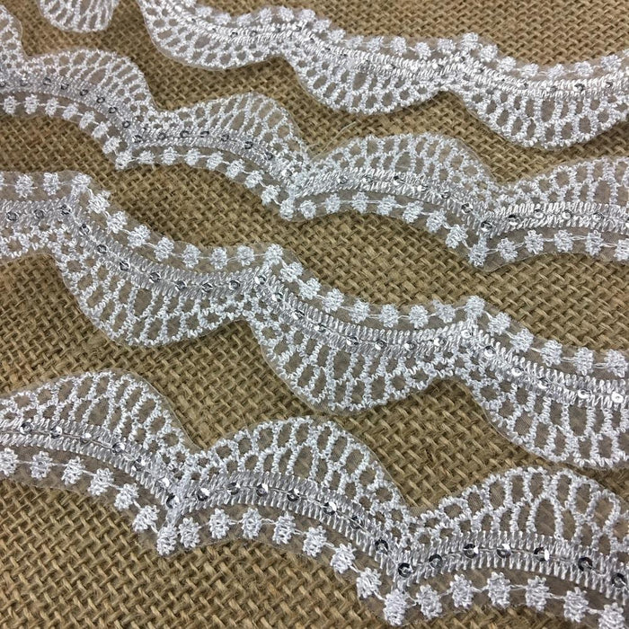 "Bridal Trim Lace Embroidered & Silver Sequins Organza Ground, 1.5"" Wide, White, for Bridal Veil Communion Christening Baptism Dress Cape"