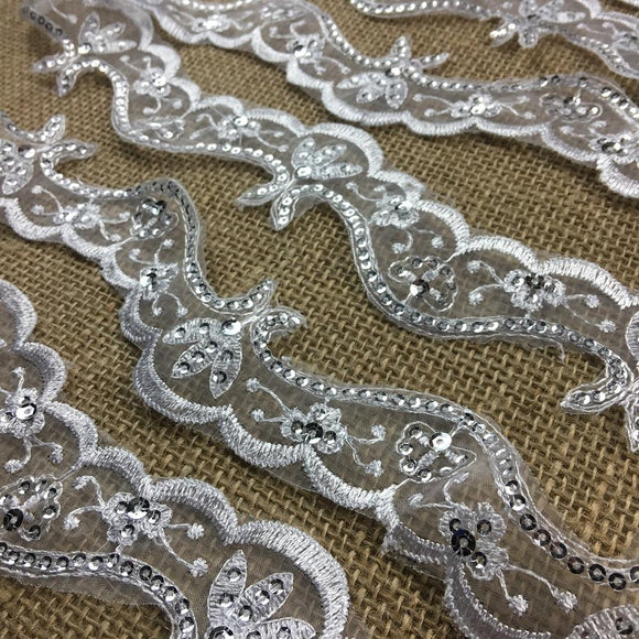 Bridal Trim Lace & Silver Sequins Royal Wave design, 2