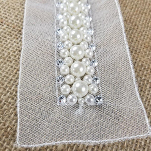 "Pearl Sash Beads Rhinestones Applique Bridal Belt Lace Trim, Beaded part is 1""x10"" on Double Mesh ground for Sash Belt Waistband Garments Bridal Flower Girl Decoration"