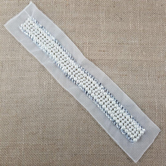 "Pearl Sash Beads Rhinestones Applique Belt Lace Trim,  Usable Beaded part is 1""x13.5"" & 1""x13"" on Double Mesh ground for Sash Belt Waistband Garments Bridal Flower Girl Decoration"