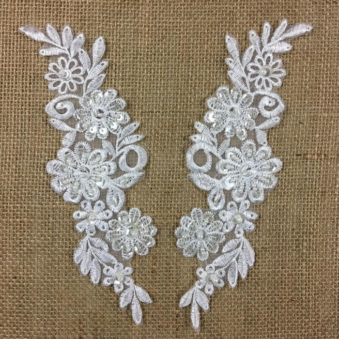 "Beaded Applique Pair Floral Daisy Embroidered Organza Beaded & Sequined, 8.5"" long, White, for Garment Costume Communion Christening Baptism"