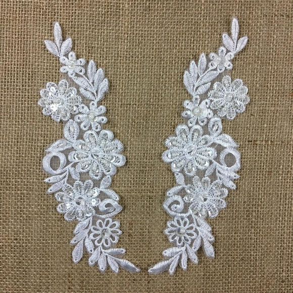 Beaded Applique Pair Floral Daisy Embroidered Organza Beaded & Sequined, 8.5