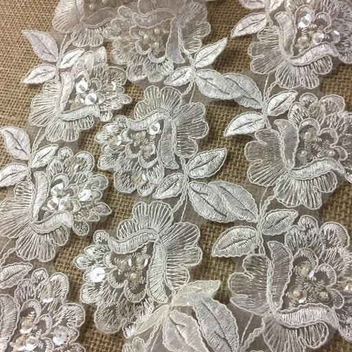 Bridal,Veil,Lace,Trim,Classic,Rose,Flower,Design,Alencon,Hand,Beaded,Sequined,Corded,Organza,Wedding,Sheer,Embroidered,Lace,Table Runner,Cover,Events,Arts and Crafts,Scrapbook,Funeral,Casket,Coffin,Victorian,Traditional,DIY Clothing,DIY Sewing,Proms,Bride