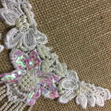 "Beaded Applique Piece Lace 11 Hanging Beads Strings Fringe Dangling, 6""x6"", Choose Color, for Garment Costume Communion Christening Baptism DIY Sewing"
