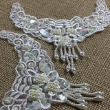 "Beaded Applique Piece Lace 6 Hanging Beads Strings Fringe Dangling, 6""x6"", Choose Color, for Garment Costume Communion Christening Baptism DIY Sewing"