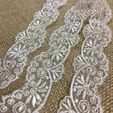 "Lace Trim Embroidered Organza Royal Fan, 1.5"" Wide, Ivory, for Garments Gowns Veils Bridal Communion Costume Decoration Invitations DIY Sewing"