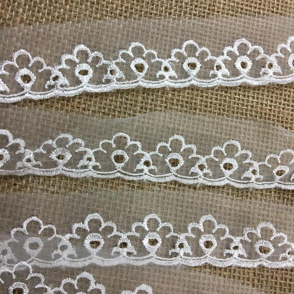 Lace Trim Embroidered Organza Eyelet Design, 1