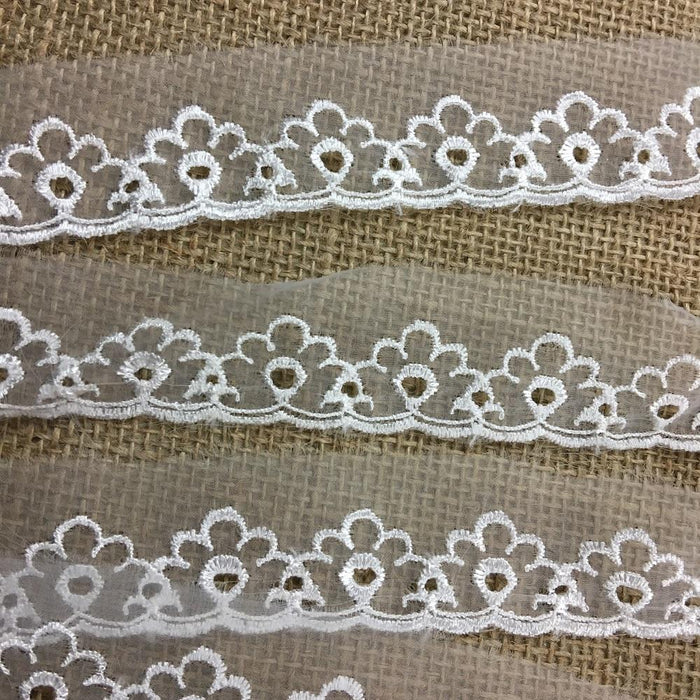 "Lace Trim Embroidered Organza Eyelet Design, 1"" Wide, Open Top Organze, Ivory, for Garments Gowns Veils Bridal Communion Costume Decoration"