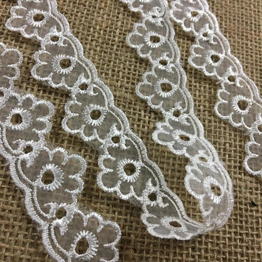 "Lace Trim Embroidered Organza Eyelet Design, 1"" Wide, Choose Color, for Garments Gowns Veils Bridal Communion Costume Decoration Invitations"