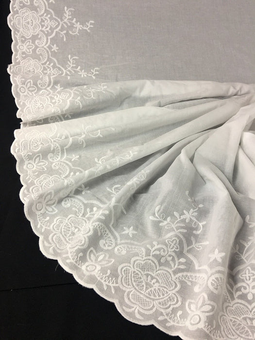 "Lawn Cotton Fabric Embroidered Double Border Floral Design Border, 52"" Wide, White, Many uses Garments Costumes Curtains Table Cover DIY Sewing"