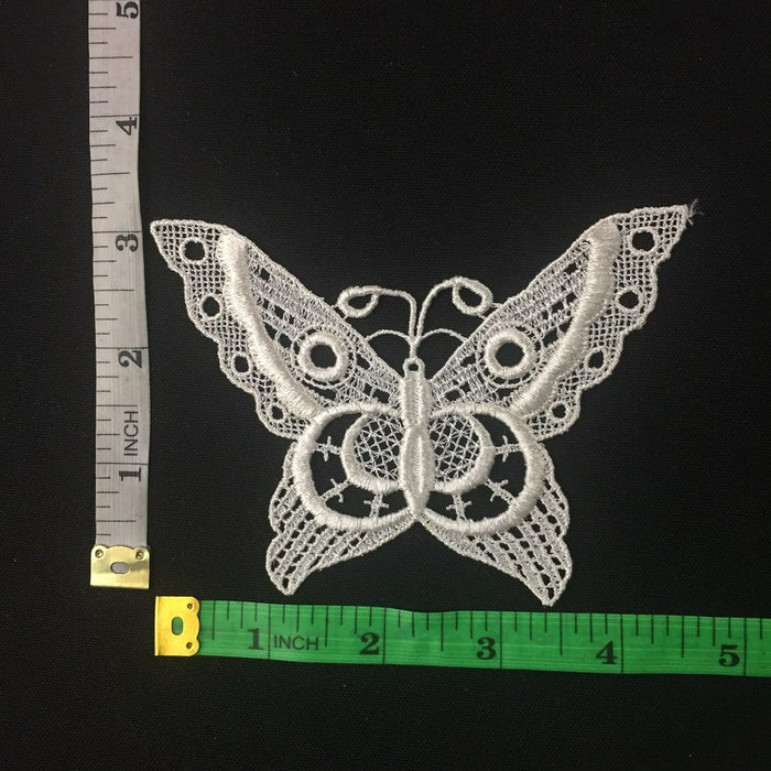 "Butterfly Applique Lace Embroidery Venise Piece Motif Patch 3""x4"" Ivory, Multi-Use ex. Garments Costume DIY sewing Arts Crafts Scrapbooks."