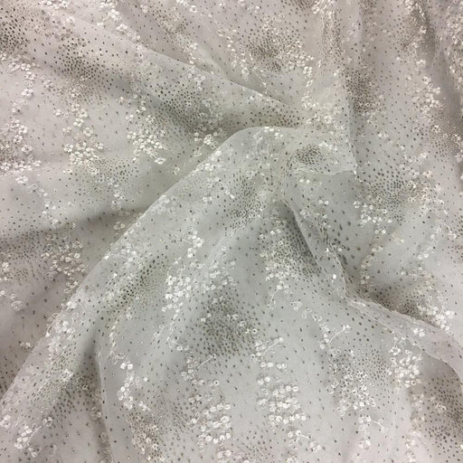 "Organza Fabric Embroidered Full Allover with Stardust Silver Glitter Scalloped Borders, 52"" Wide, Choose Color. Multi-Use Garments Communion Tables"