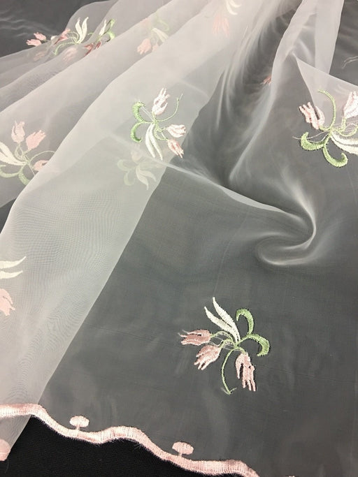 "Embroidered Organza Fabric Tulpis Design Double Border, 52"" Wide, Pink/Green/Ivory, Multi-Use Garment Table Backdrop"