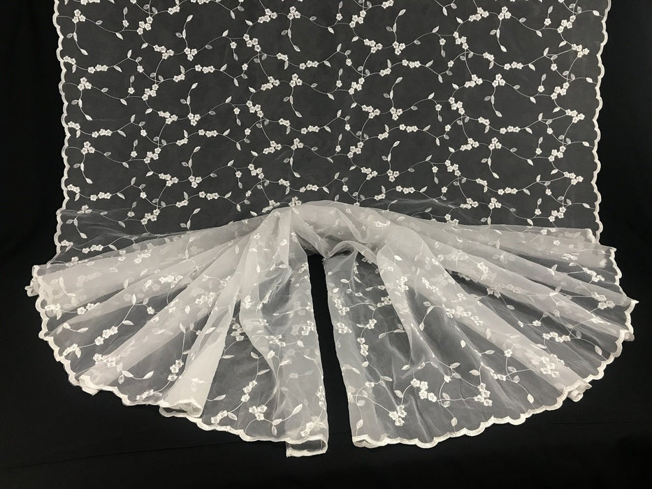 "Embroidered Organza Fabric Daisy Dance Party Design Double Border, 52"" Wide, Choose Color, Multi-Use Garment Table Backdrop"