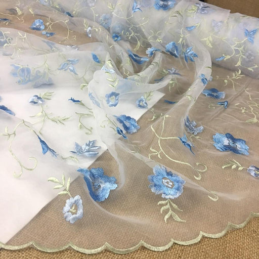 "Embroidered Organza Fabric Beautiful Allover Double Boarder Floral Thick High Quality Embroidery, 52"" Wide, Choose Color, Multi-Use Garment Table Backdrop"
