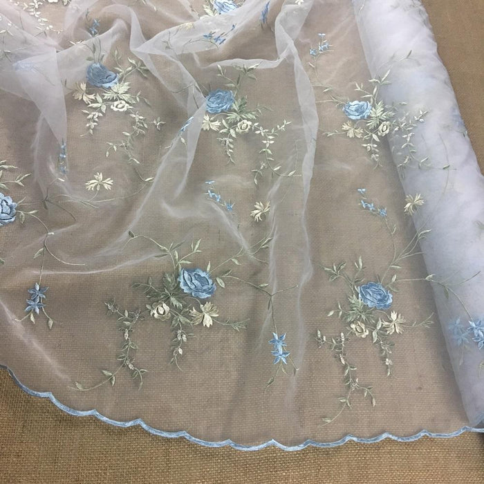 "Embroidered Organza Fabric Allover Double Boarder Floral, 52"" Wide, Choose Color, Multi-Use Garment Table Backdrop Layover Dance Theater Costumes"