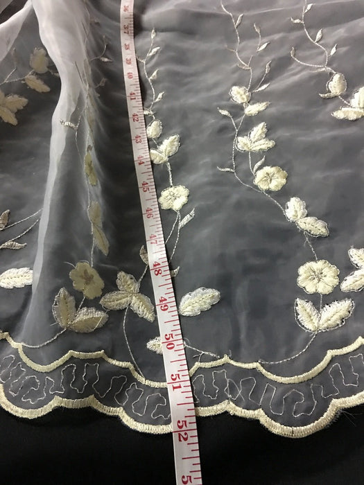 "Embroidered Organza Fabric Rising Daisies Double Boarder Floral, 52"" Wide, Choose Color, Multi-Use Garment Skirt Dolls Table Decoration"