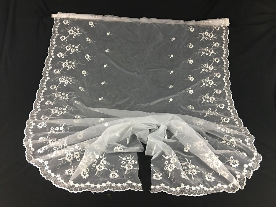 "Embroidered Organza Fabric Star Flower Double Boarder, 52"" Wide, Choose Color, Multi-Use Garment Skirt Dolls Table Decoration"