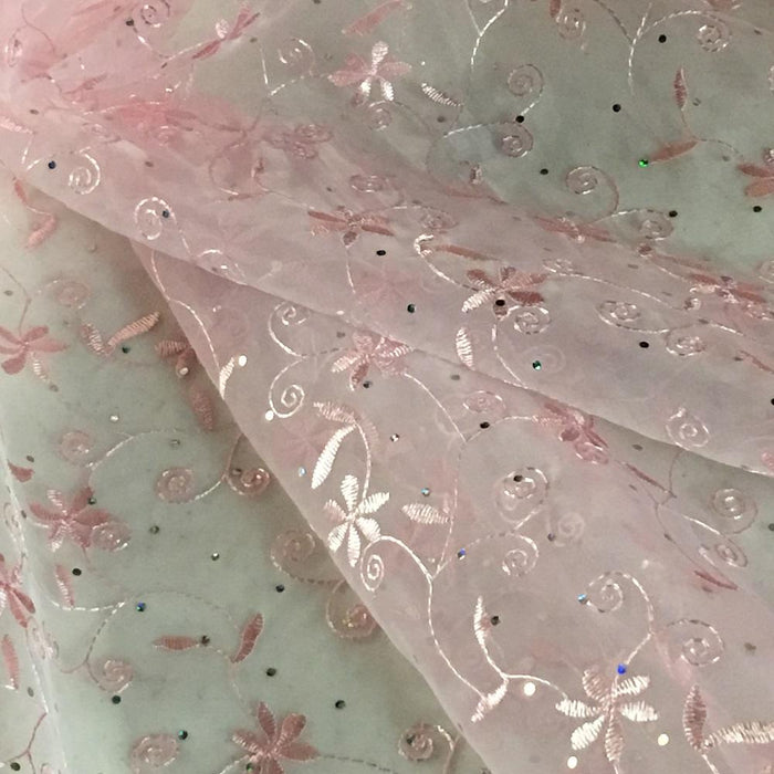 "Allover Embroidered Organza Fabric Bling Shiny Spots both Borders Scalloped , 52"" Wide, Choose Color, Multi-Use Garment Table Backdrop Costumes DIY Sewing"
