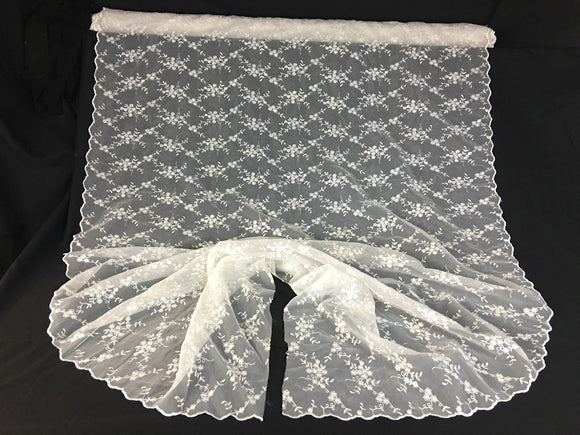 Bridal Fabric Embroidered Organza Allover Floral Full Double Scalloped Border, 52