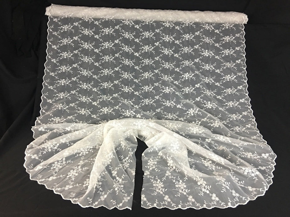 "Bridal Fabric Embroidered Organza Allover Floral Full Double Scalloped Border, 52"" Wide, White, Multi-Use Garment Dolls Table Veil Communion Christening Baptism"