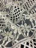 "Bridal Hand Beaded hand cut Embroidered Organza Fabric, 52"" Wide, Ivory, Use Whole or cut as Trim, Use for Bridal Garment Backdrop Table"