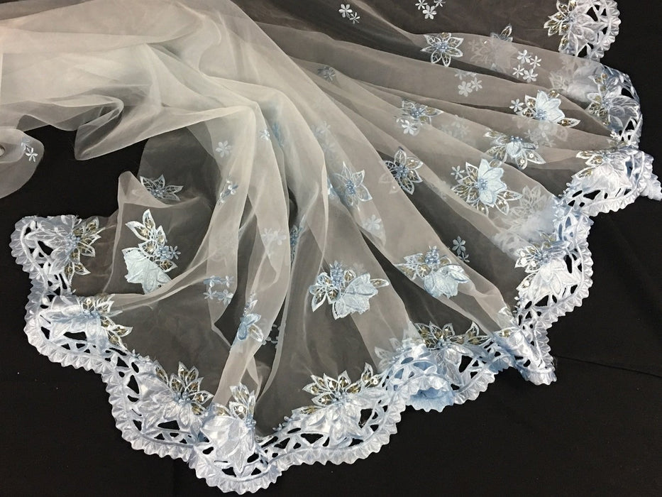 "Bridal Fabric Satin Border Embroidered Organza Hand Beaded Hand Cut, 52"" Wide, Choose Color, Multi-Use Garment Costume Table Doll Wedding Decoration"