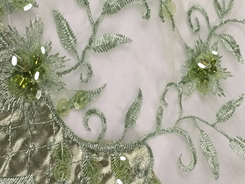 "Bridal Beaded Fabric Embroidered Organza Sheer Beautiful Sunshine Design, 52"" Wide, Choose Color, Multi-use Garment  Dolls Costume Decoration"
