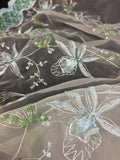 "Bridal Beaded Fabric Satin Border Embroidered Organza Starburst Flower Design, 52"" Wide, Choose Color, Multi-use Garment  Dolls Costume"