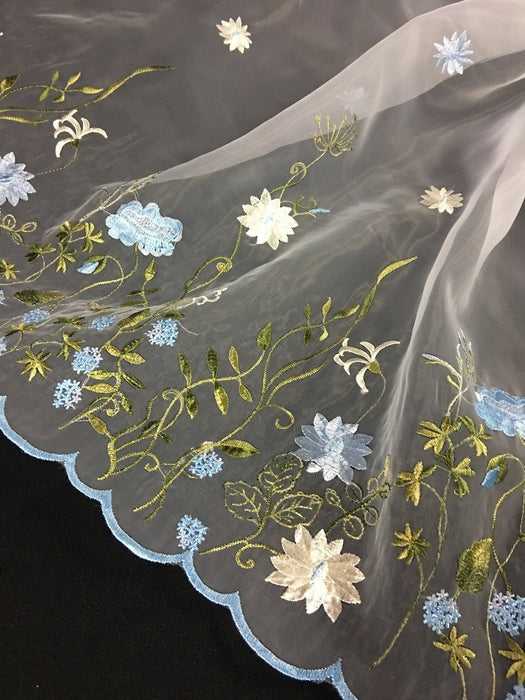 "Embroidered Organza Fabric Vibrant Flower Garden Design, Double Border, 52"" Wide, Choose Color, Multi-Use Garments Costumes Curtains"