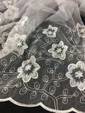 "Bridal Organza Fabric Flower Jungle Design, Embroidered Sequinned Double Border, 52"" Wide, White, Multi-Use Garments Wedding Communion Christening"